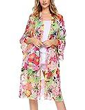 ELESOL Women's Floral High Low Loose Sheer Chiffon Kimono Cardigan Capes White XL