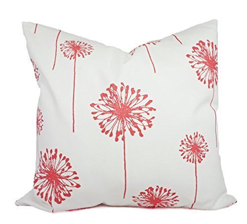 Coral and White Dandelion Throw Pillow Cover in Custom Sizes - Decorative Pillow Sham - Coral Pillows