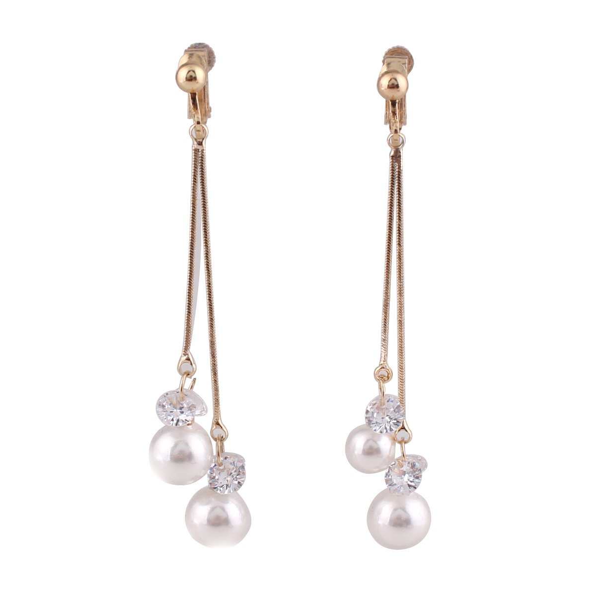 Grace Jun New Fashion Double Tassel CZ Simulated Pearl Clip on Earrings Non Piercing for Women Gift (Gold Clip-on)