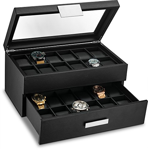 Glenor Co Watch Box for Men - 24 Slot Luxury Display Case Organizer, Carbon Fiber Design -Metal Buckle for Mens Jewelry Watches, Men's Storage Holder w Large Glass Top, Drawer & Leather Pillows- Black (Leather Large Pillows)