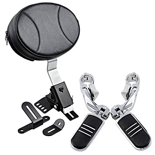 Adjustable Plug-In Driver Rider Backrest + 1-1/4 Highway Foot Pegs Compatible with 1997-2017 Harley Touring FLH FLT Slotted Seat 1.25