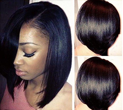 LUFFYWIG Short Bob Human Hair U Part Bob Cut Wigs 10A Virgin Brazilian Hair 130% Density Left Opening 1×3inch U Part Wig Natural Color for Black Women(12 Inch)