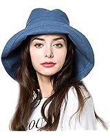 Sun Bucket Hat Women Summer Floppy Cotton Sun Hats Packable Beach Caps SPF  50+ UV d871caad47