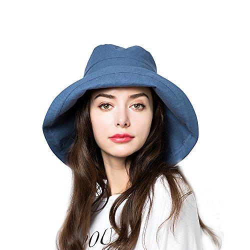 Sun Bucket Hat Women Summer Floppy Cotton Sun Hats Packable Beach Caps SPF 50+ UV Protective(A8-Denim Blue) -