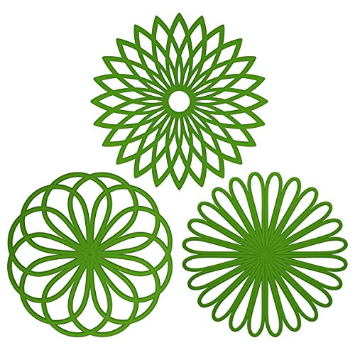 ME.FAN 3 Set Silicone Multi-Use Flower Trivet Mat - Premium Quality Insulated Flexible Durable Non Slip Coasters Hot Pads Green ()