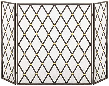 暖炉スクリーン MYL ダイヤモンドグリッド3-パネル暖炉スクリーンワット/ユーズドアンティークブラック仕上げ、オープン火災/ガス火災のための鍛造アイアンファイアスクリーン/ログウッドバーナー、背の高い80センチメートル (Color : Black)