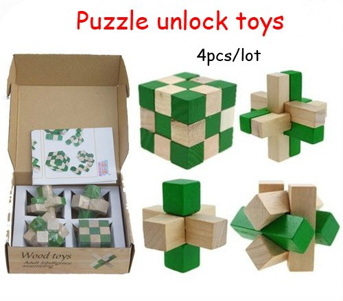 Set of 4 IQ Brain Teasers, Learning Educational 3D Puzzle Unlock Wooden Toys Mind Twisters for Kids and Adults