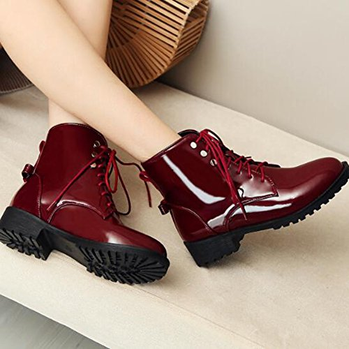 Easemax Womens Trendy Burnished Round Toe Low Chunky Heel Lace Up Boots Red mrWkFs1vmJ