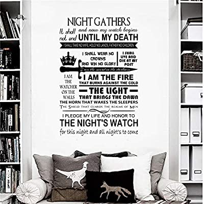 ggeion DIY Removable Vinyl Decal Mural Letter Wall Sticker Game of Thrones Night's Watch Oath Quote Home Decor