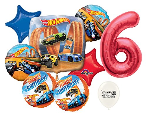 Red Number 6th Birthday Hot Wheels Racing Cars Party Decorations Balloon Bouquet Bundle ()