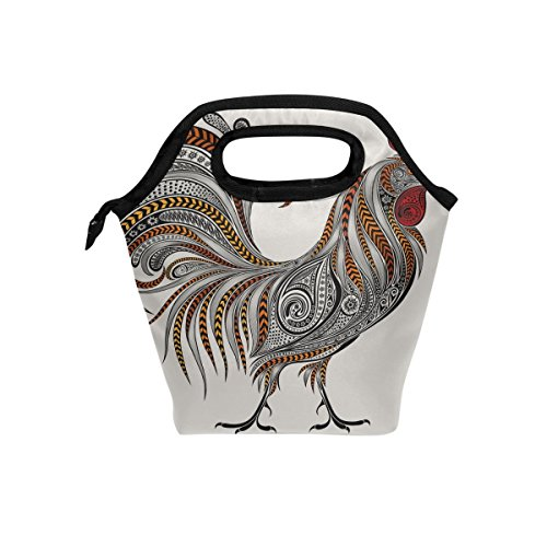 Rooster Floral Texture Lunch Bag Insulated Lunch Box Tote for Women Men Kids