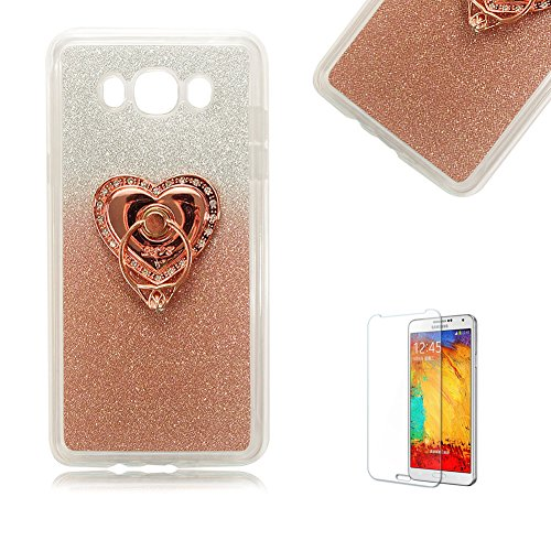 Galaxy S3 Case with Free Screen Protector,Funyye Soft Gel TPU Slim Glitter Gradual Colour Changing With Love Hearts Ring Holder Protective Rubber Bumper Case Cover Shell for Galaxy S3 (Samsung Galaxy S3 Case Adorable)