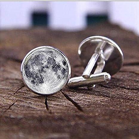 Gemelos Cosmic Galaxy Full Moon Gemelos Bullet Glasses para Hombres Camisa Plateada Gemelos Glass Diameter: 1.6cm: Amazon.es: Deportes y aire libre