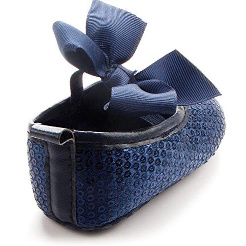Dooxi Bebé Niña Bowknot Lentejuelas Princesa Zapatos Primeros Caminantes Antideslizante Zapatillas Azul