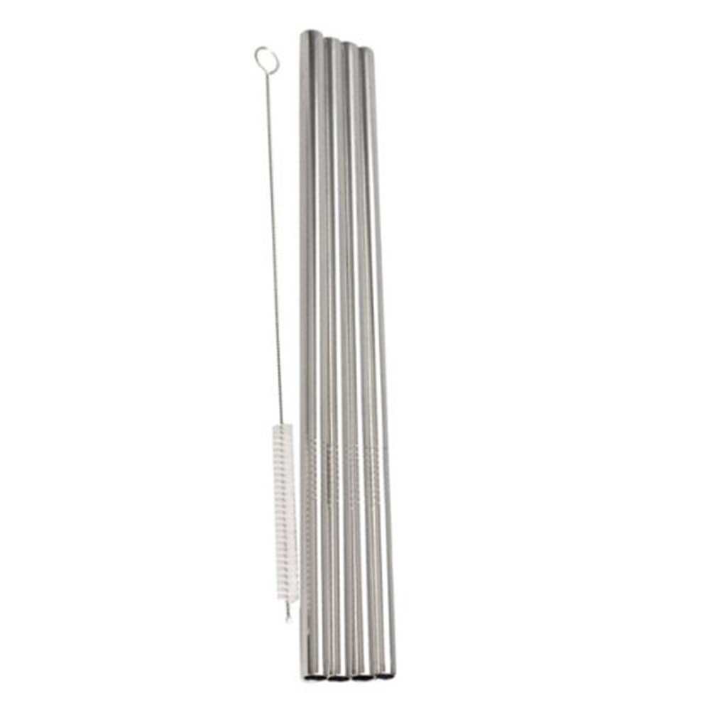 UltraByEasyPeasyStore Pack of 50 Stainless Steel Straws & 5 cleaning brushes 6mm thick Straight Reusable Washable NON-TOXIC (50) by UltraByEasyPeasyStore (Image #1)