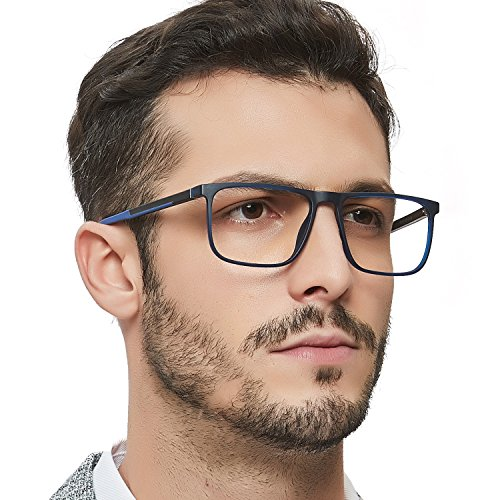 OCCI CHIARI Men Non Prescription Eyeglasses TR90 Frame with Clear Lense Eyewear (Blue+Black) -
