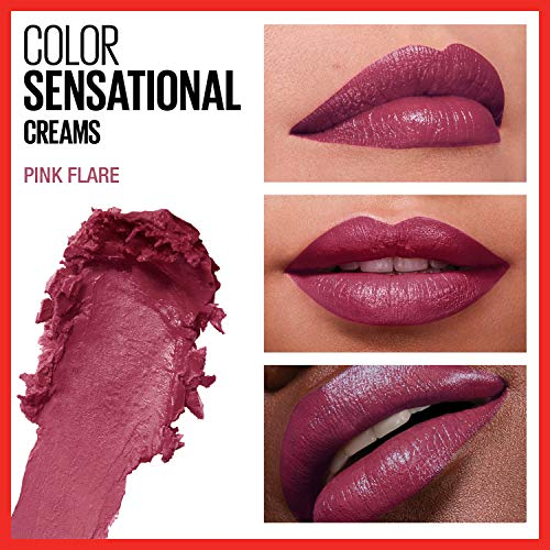 Maybelline Color Sensational Lipstick, Lip Makeup, Cream Finish, Hydrating Lipstick, Nude, Pink, Red, Plum Lip Color, Pink Flare, 0.15 oz. (Packaging May Vary)