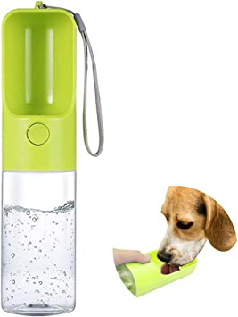 MTSLYH Dog Water Bottle 15 oz Dog Water Bowl 450 ml Portable Durable Dog Water Bottle With Leak-Proof Button BPA-free Portable Dog Bowl For Outdoor Traveling, Walking, Camping And Hiking (Green)