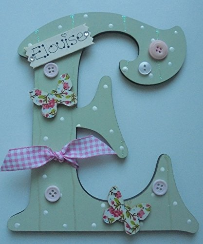 Butterfly Wooden Letter **ANY LETTER with ANY NAME** Available Personalised (SAGE)