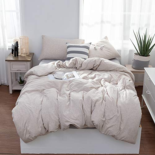 LIFETOWN Jersey Knit Cotton Duvet Cover Set 3 Pieces, 1 Duvet Cover and 2 Pillow Cases, Simple Solid Design, Super Soft and Easy Care (Full/Queen, Light Coffee)
