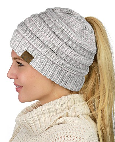 - C.C BeanieTail Soft Stretch Cable Knit Messy High Bun Ponytail Beanie Hat, Rose Mix