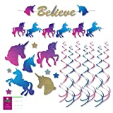 FAKKOS Design Unicorn Party Supplies Decoration Kit - Banner, Cutouts, Hanging Decor