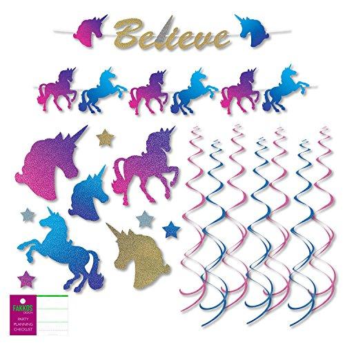 FAKKOS Design Unicorn Party Supplies Decoration Kit - Banner, Cutouts, Hanging Decor by FAKKOS Design
