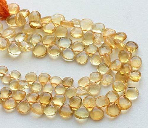 GemAbyss Beads Gemstone 1 Strand Natural Citrine Plain Heart Briolettes, Natural Citrine Necklace, 10-12mm, 10 Inch Code-MVG-17966