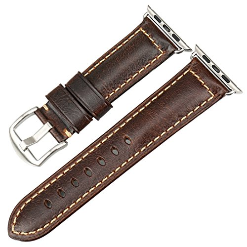 MAIKES Oil Wax Leather Strap Replacement for Apple Watch Band 44mm 40mm 42mm 38mm Series 4 3 2 1 iWatch Watchband Compatible with Apple Watch(42mm, Dark Brown+Silver Buckle) ()