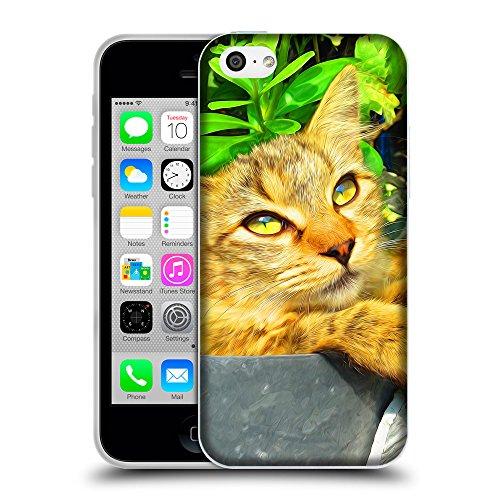 Just Phone Cases Coque de Protection TPU Silicone Case pour // V00004224 rougechat à l'intérieur du pot // Apple iPhone 5C