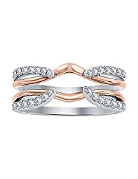 Dabangjewels 1/4 ct White CZ Diamond Enhancer Solitaire Engagement Ring 14k Rose & White Gold Plated Guard Wrap Jacket
