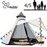 Vidalido 12'x10'x8'Dome Camping Tent 4-5 Person 4 Season Double Layers Waterproof Anti-UV Windproof Tents Family Outdoor Camping Tent(White)