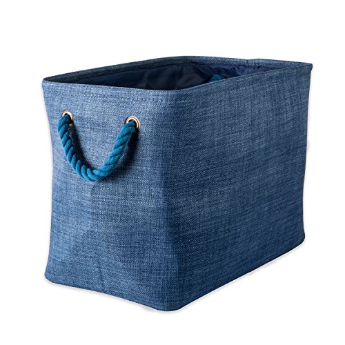 "DII Collapsible Variegated Polyester Storage Basket or Bin with Durable Cotton Handles, Home Organizer Solution for Office, Bedroom, Closet, Toys, & Laundry (Small – 14x8x9""), Blue (14 Basket)"