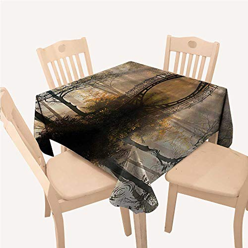 Autumn Table Cloth Cover Mystic Bridge Fall Park Trees Foggy View River Reflection Lake House Decor Decorations PrintYellow Brown Dark Green Square Tablecloth W54 xL54 -