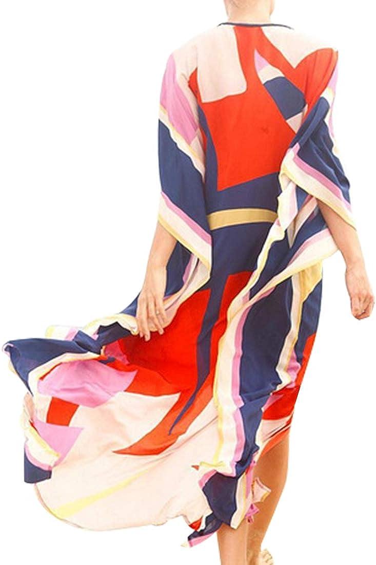 Tyidalin Damen Kaftan Sommer Strandkleid /Übergr/ö/ße Tunika Strandponcho Maxi Lang Pareo Blumendruck Kimono Bikini Cover up