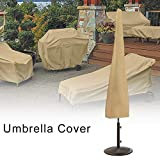 Umbrella Cover Outdoor Waterproof Umbrella Protective Covers with Rust-Proof Side Zipper 600D Oxford Cloth Khaki 200x30cm