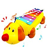 Lovely Dog Piano Music Toy Kids Push Pull Toys Early Learning Educational Toy Little Puppy Serinette Toddler Walking Walker Toy Tractors Struck