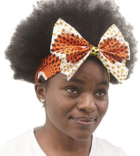 (African Show African Print Fashion Elastic Headband Bow Headband Hair Accessory for Women/Girls(2 Headbands;1 Big and 1small) (One Size, Circle 4))