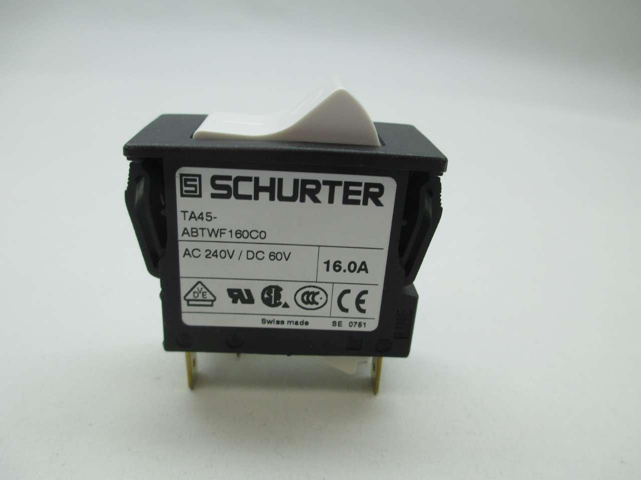 NEW SCHURTER TA45 ABTWF160C0 ROCKER SWITCH 240V AC 16A