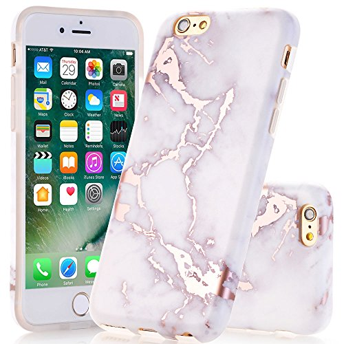 Pattern White Case (iPhone 6 Case, iPhone 6s White Rose Gold Marble Pattern Case JDBRUIAN Slim Fit Flexible Soft TPU Bumper Shockproof Rubber Silicone Skin Cover for iPhone 6 6s 4.7 inch)