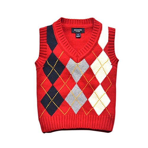 Red Argyle Sweater Vest - 5