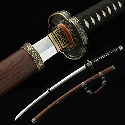 - Auwiy Tachi Sword, 41 inches Fully Handmade High Hardness Pattern Steel Real Japanese Katana Samurai Sword with Scabbard Rosewood (Tachi Sword)