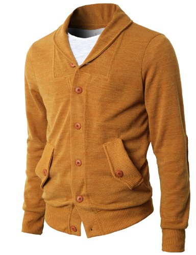 H2H Mens Shawl Collar Sweater Cardigan with Point Button
