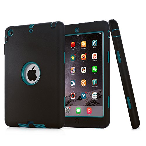 Sean® Hybrid Protective Case Combo Defender Shockproof Armor Case for Ipad Mini / Ipad Mini 2 with Retina Display / Ipad Mini 3+ 1 Pcs S-smile Stylus (Black and Blue green) by SMILES