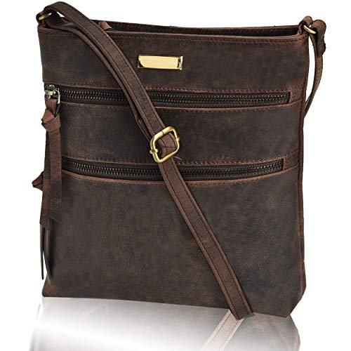 Lined Tote Zip Fully Top - Leather Crossbody Purse for Women- Small Crossover Cross Body Bag Long Over the Shoulder Sling Womens Purses and Handbags