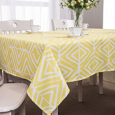 ColorBird Modern Style Washable Diamond Shaped Geometric Print Pattern Rectangle Polyester Tablecloth Fashion Table Cover (55''×70'', Yellow and White)
