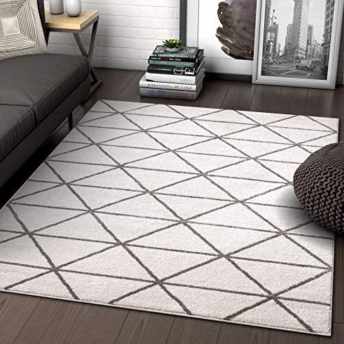Well Woven Menage Geometric Ivory Modern Triangle Tiles Shapes Lines Accent Area Rug 4×5 3 11 x 5 3 Carpet