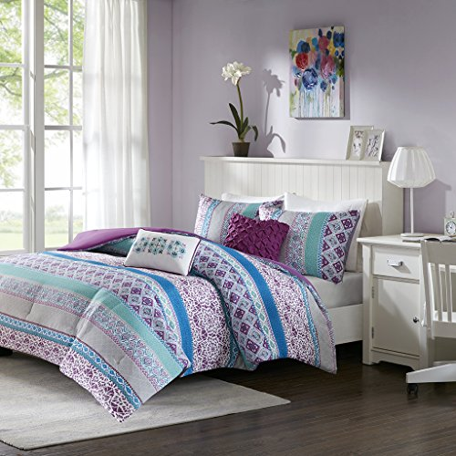 Intelligent Design Joni Comforter Set Full/Queen Size - Purple, Blue, Bohemian Pattern - 5 Piece Bed Sets - Ultra Soft Microfiber Teen Bedding for Girls Bedroom -