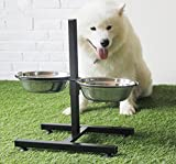 Be Good Pet Bowl Double Diner Food and Water Feeder Bowls with Adjustable Elevated Stainless Steel Stand Durable Non-Skid Dog Bowl and Stand Set for Small Medium Dogs Cats Puppies M