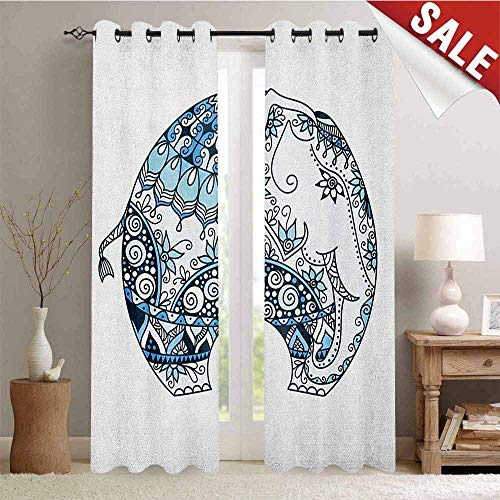 Elephant Mandala, Waterproof Window Curtain, Ethnic Belief Guardian Spirit of Temples Animal Mehndi Image, Decorative Curtains for Living Room, W72 x L96 Inch Turquoise Blue and White